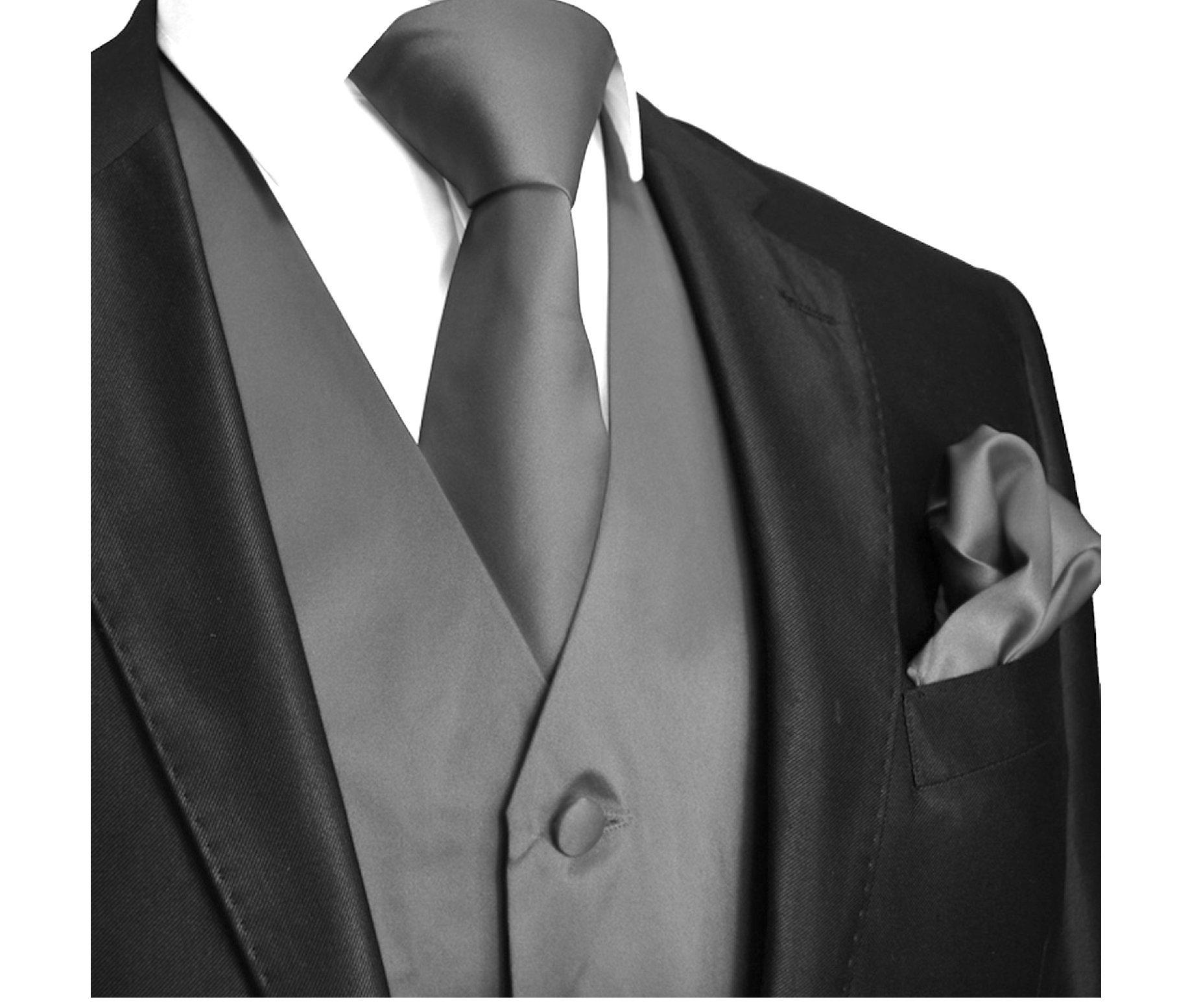 Brand Q 3pc Men's Dress Vest NeckTie Pocket Square Set for Suit or Tuxedo (4XL (Chest 56), Charcoal)