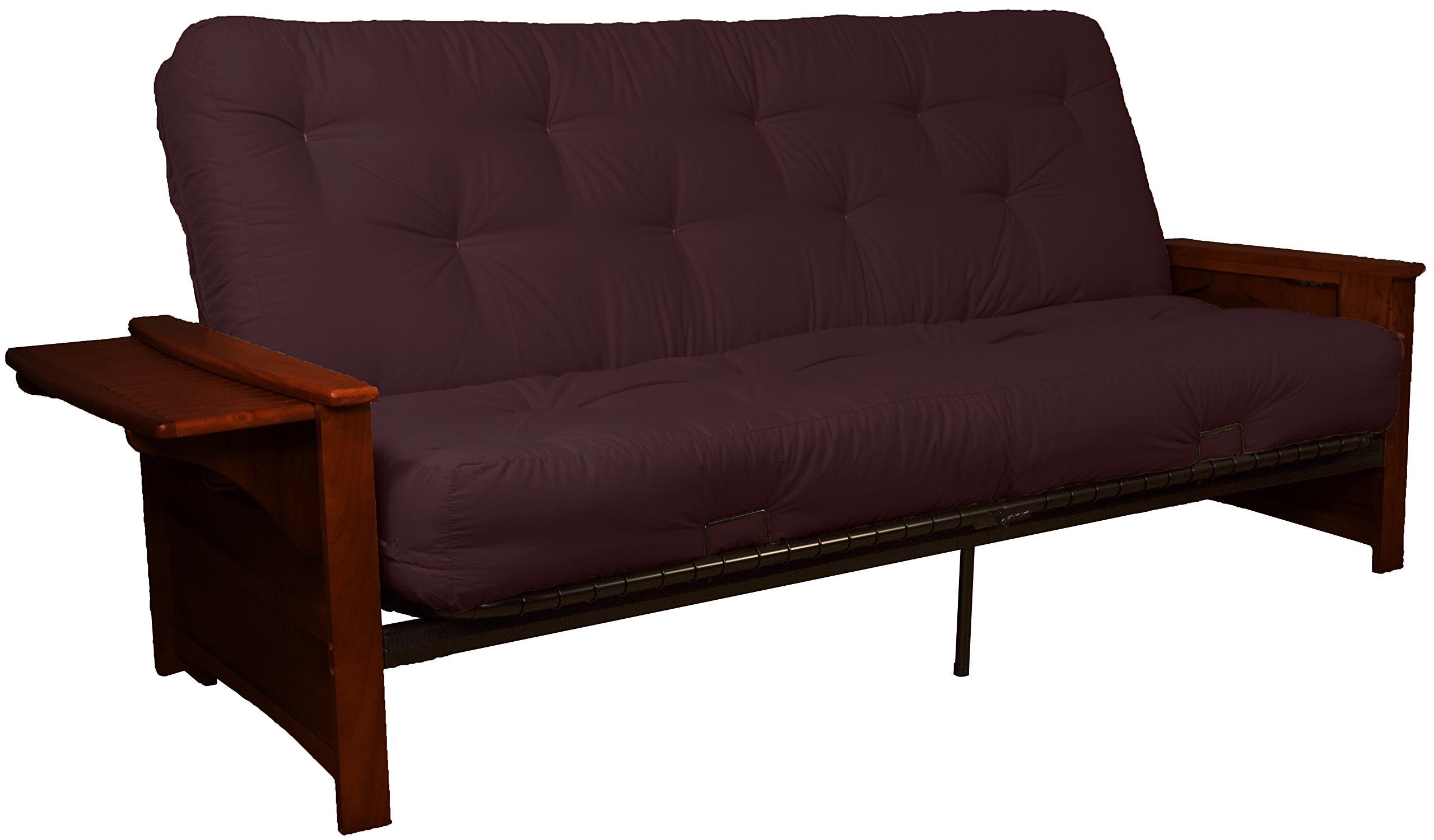 Valet Attached End Table Style True 8-inch Loft Cotton/Foam Futon Sofa Sleeper Bed, Full-size, Mahogany Arm Finish, Twill Burgundy Upholstery