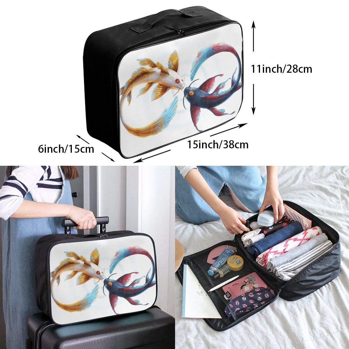 Fish Peace Circle Eternity Yin And Yang Customize Casual Portable Travel Bag Suitcase Storage Bag Luggage Packing Tote Bag Trolley Bag