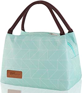 Insulated Lunch Bag Reusable Food Tote Waterproof Handbag Keep Warm/Cool/Fresh for Men/Women/Kids to Office, School, Picnic (Geometry Green)