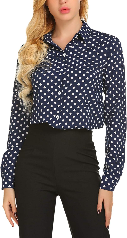 SE MIU Women's Chiffon Long Sleeve Polka Dot Office Button Down Blouse Shirt Tops at  Women's Clothing store