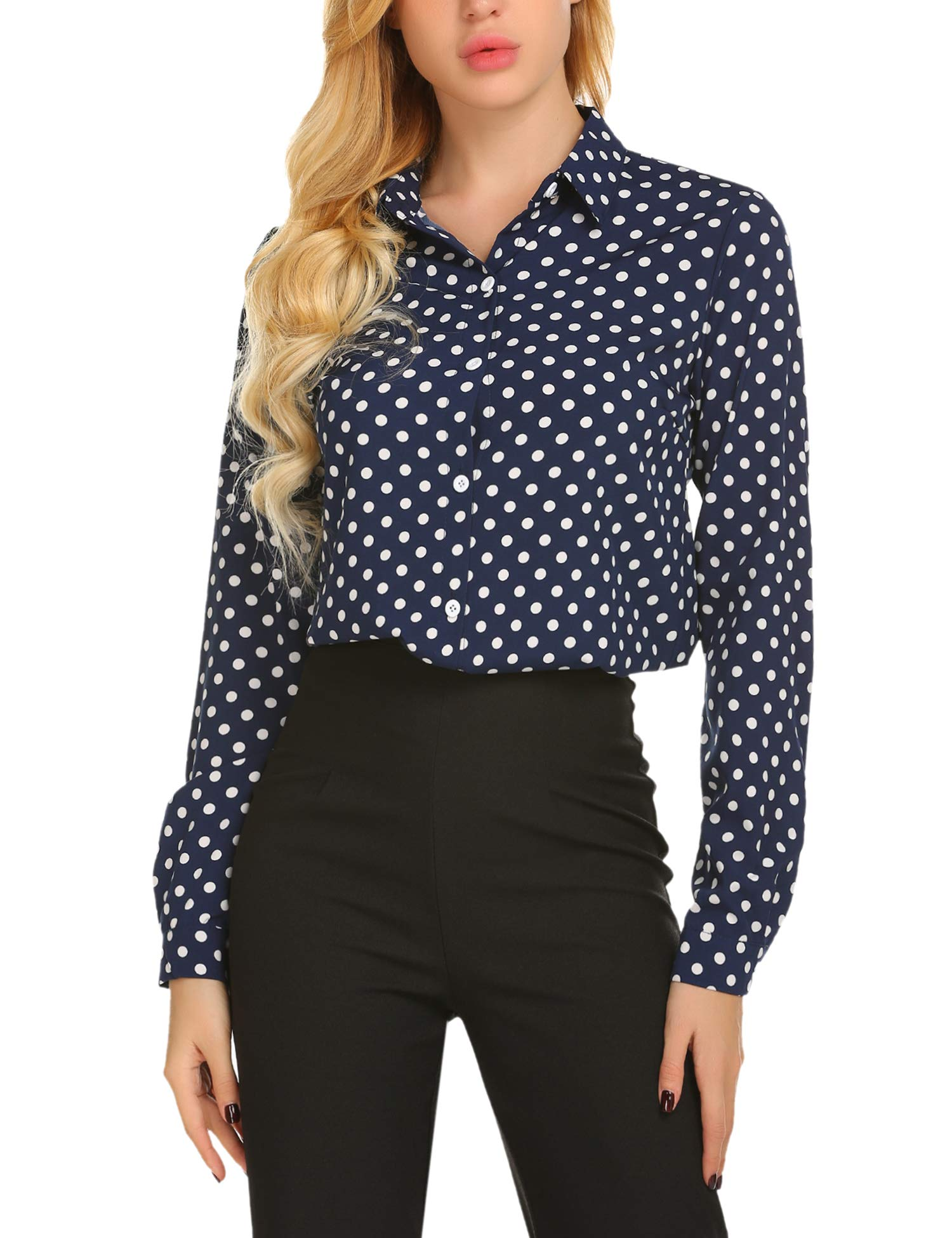 SE MIU Women's Chiffon Long Sleeve Polka Dot Office Button Down Blouse Shirt Tops