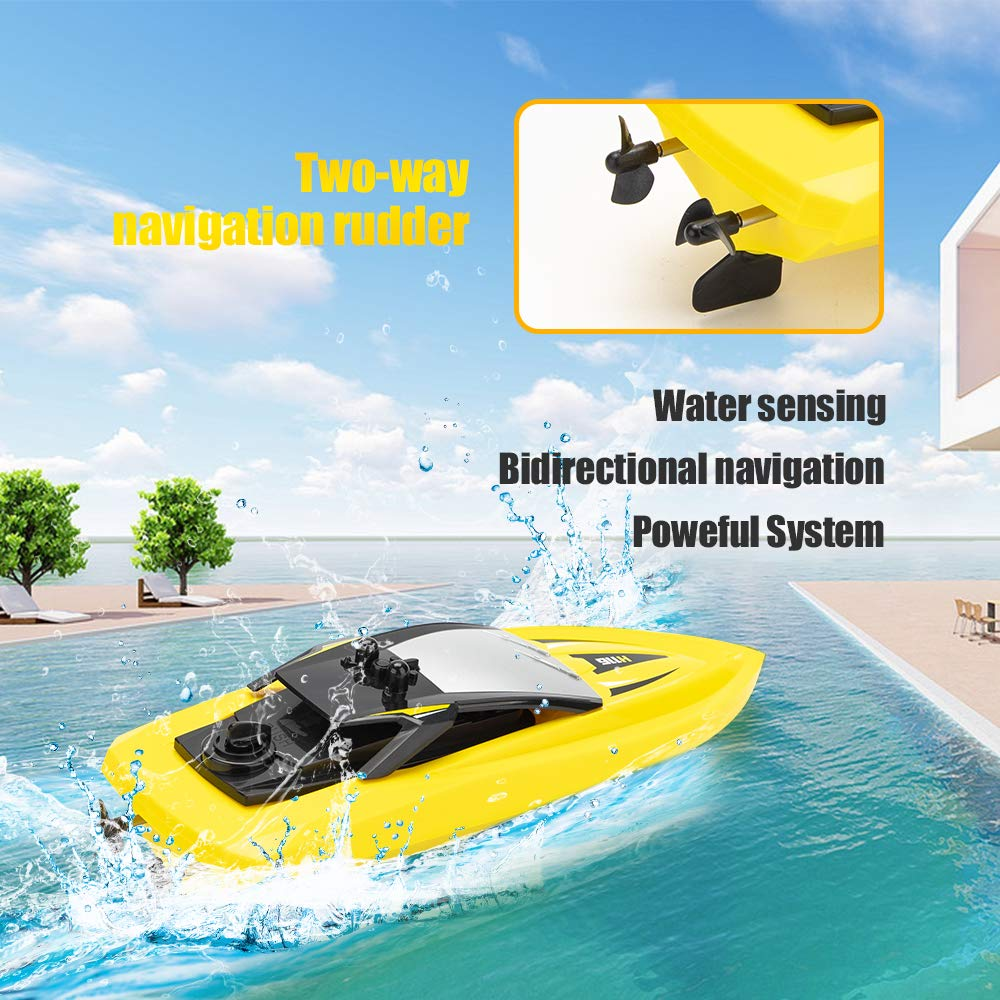 RC Boat Remote Control Boats for Pools and Lakes, ROTOBAND H116 14km/h Self Righting High Speed Boat Toys for Kids Adults Boys Girls(Yellow) by ROTOBAND (Image #2)