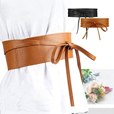 SESY Femme Ceinture PU Cuir Souple Large Cravate pour Robe Boho Serre  Taille Haut Camel 429e2363511