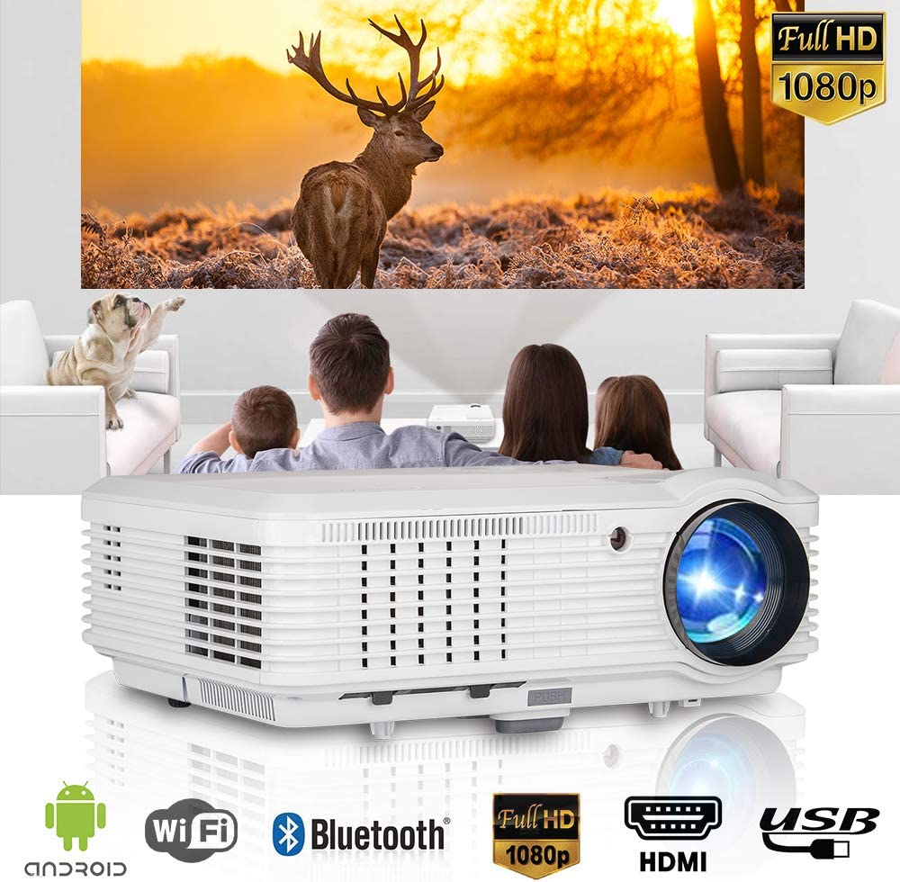 WiFi Projector with 4600 Lumen, Wireless Bluetooth Home Movie Projector Support HD 1080P, lLED Video Projector with Built-in Speakers, with TV Stick, PS4, HDMI, VGA, USB, DVD for Outdoor Entertainment