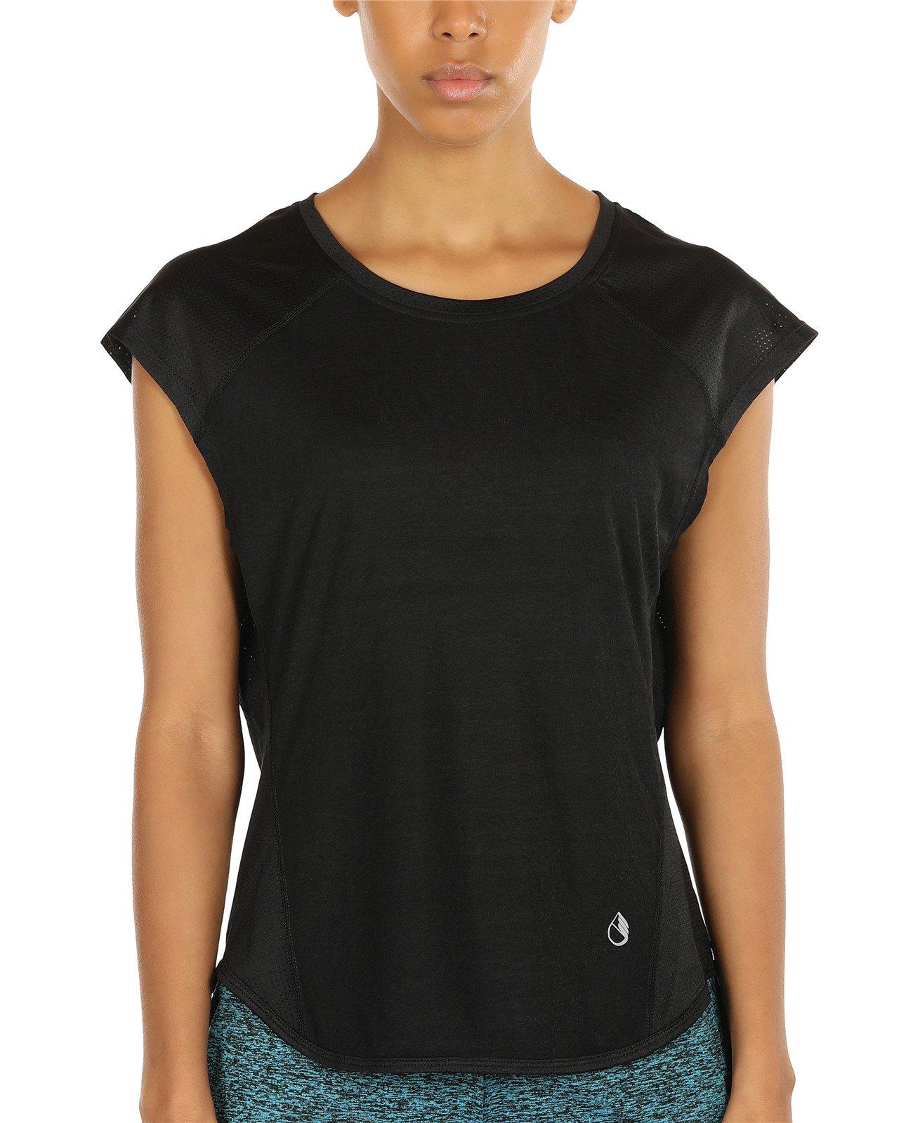 icyZone Yoga Tops Activewear Raglan Workout tank tops Fitness Sleeveless Shirts for Women (M, Black)