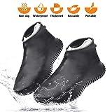Wevove Waterproof Shoe Covers Silicone Shoe Covers Reusable Non-Slip Rain Snow Overshoe Foldable Galoshes Shoe Protectors for Men Women (Black, Large) (Color: Black, Tamaño: Large)