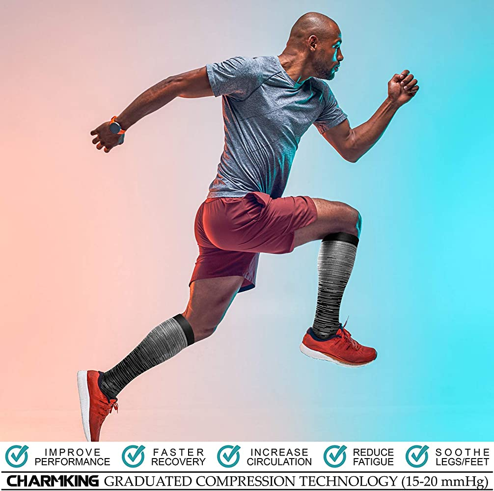 20-25 mmHg is Best Athletic 8 Pairs Running Flight Travel,Cycling CHARMKING Copper Compression Socks for Women /& Men
