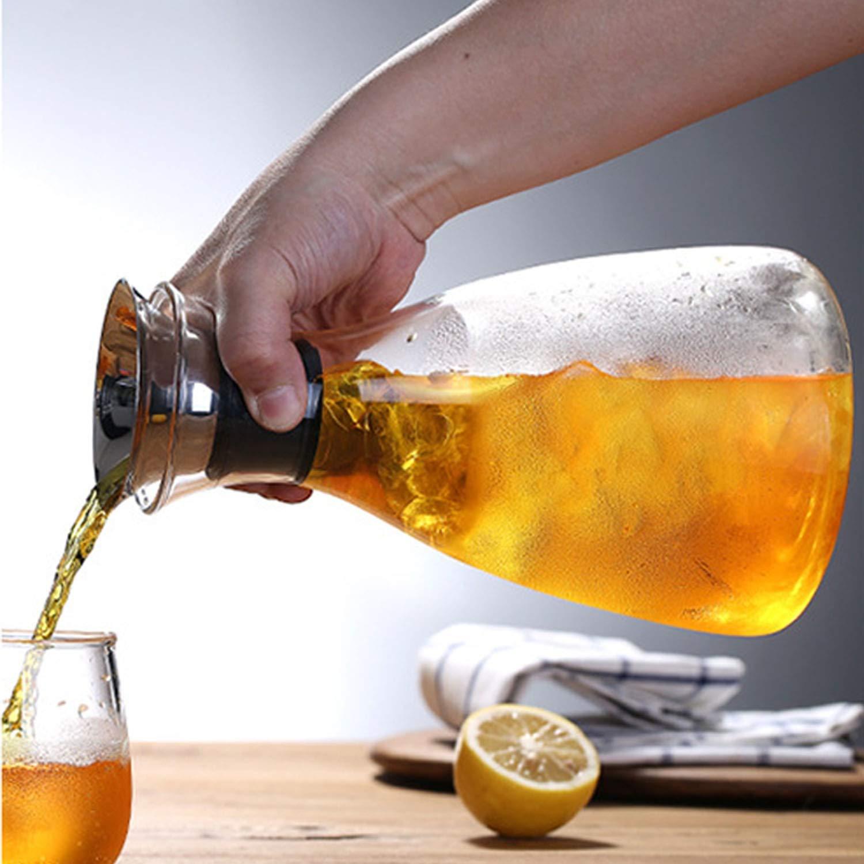 Botella de cristal transparente fumak de 50 onzas, resistente a altas temperaturas, jarra, tetera, zumo de agua, bebidas, flores, té, tazas, ...