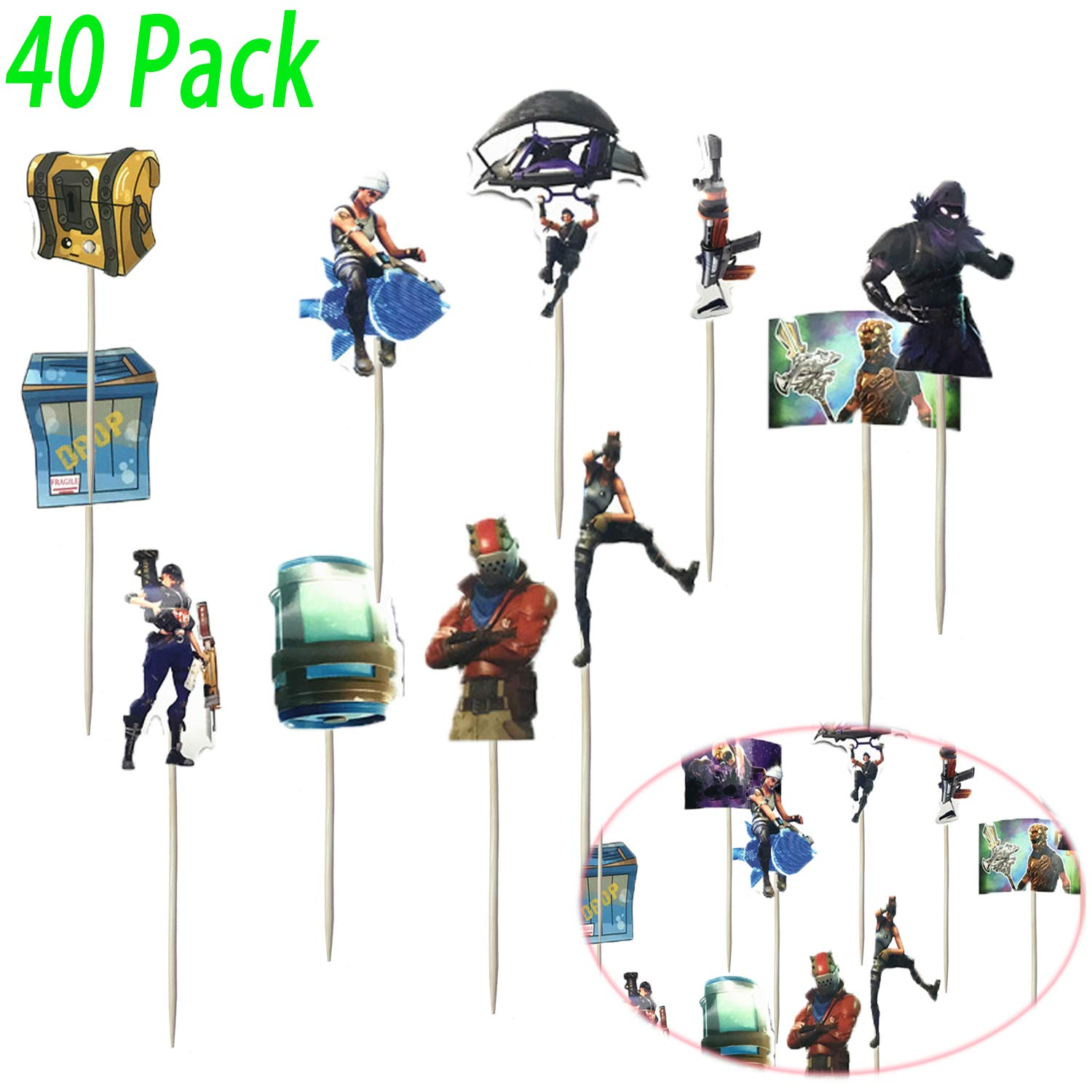 Game Party Favors 40 Pcs DIY Cake Decorating for Birthday Wedding Party Game Birthday Cake Toppers