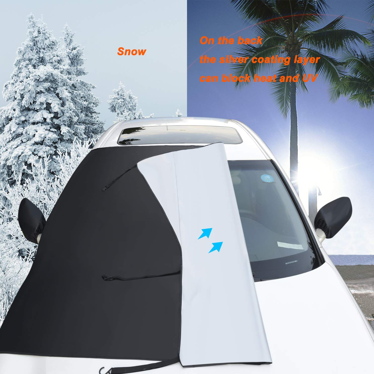 TOPWINRR Auto Frontscheibe Windschutzscheibe Eisschutz Schneeabdeckung Sonnenschutz mit R/ückspiegel Schutz Schnee Frost EIS Protector 205 150cm f/ür Auto SUV LKW