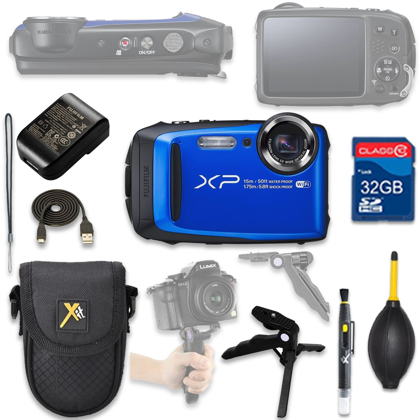 Fujifilm FinePix XP90 Digital Camera (blue) with 32GB SD Memory Card + Accessory Bundle by ALS VARIETY