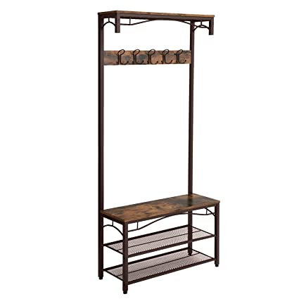 Amazon SONGMICS Vintage Coat Rack 40in40 Hall Tree Entryway Amazing Large Coat Rack With Shelf