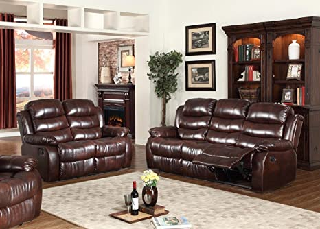 GTU Furniture Motion Sofa and Loveseat, 2Pc Living Room Pu Leather Pillow  Top Backrest and Armrests Couch Set, (Sofa and Loveseat, Brown)