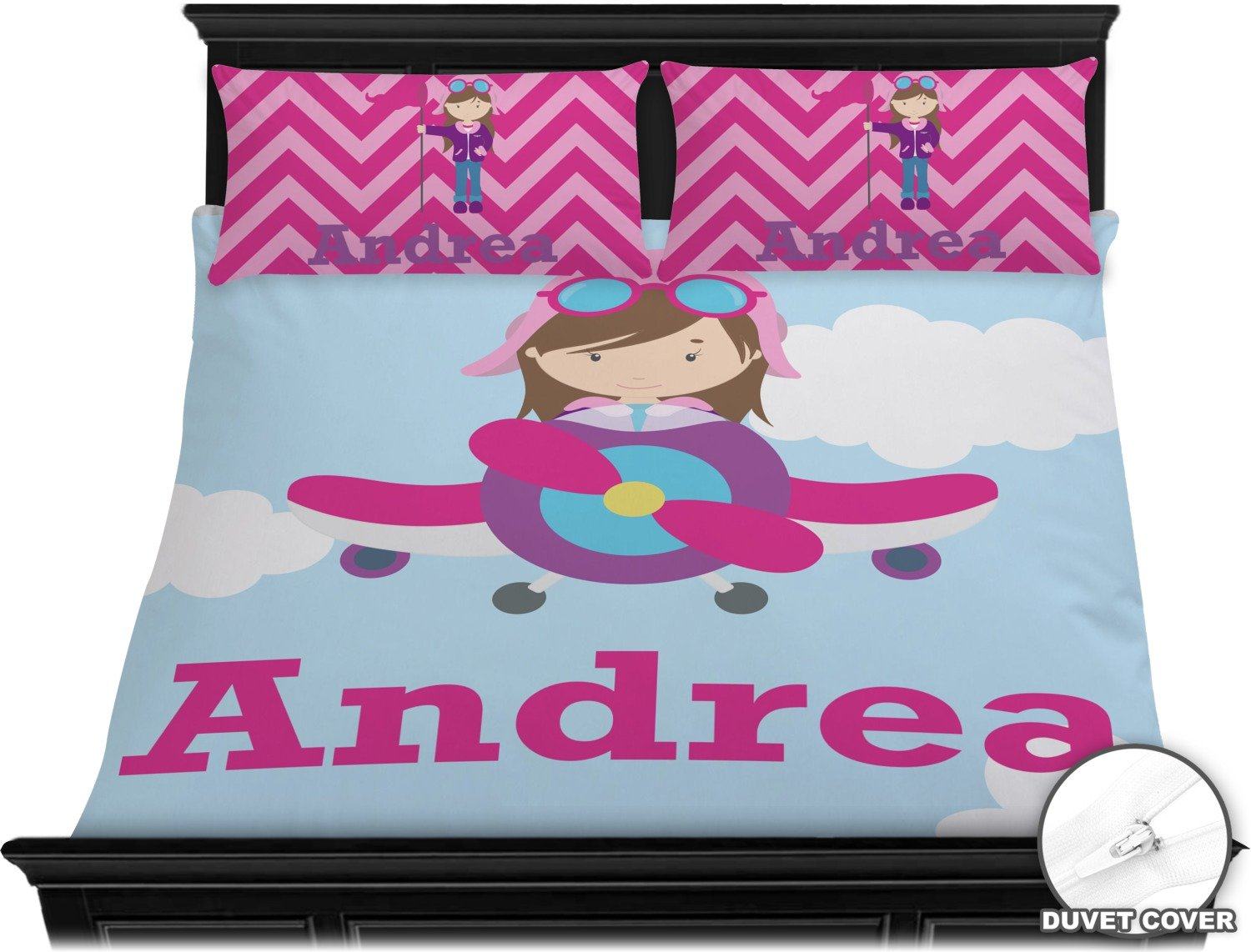 Airplane & Girl Pilot Duvet Cover Set - King (Personalized) by RNK Shops