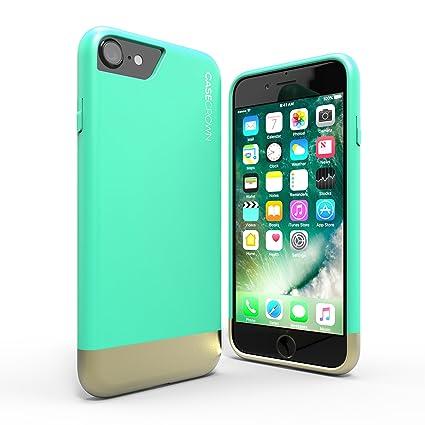reputable site 06dc2 4d943 iPhone 8 Case / iPhone 7 Case, CaseCrown Lux Glider Case (Mint / Gold) Dual  Color w/ Matte Finish & Felt Interior