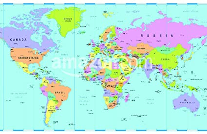 Amazon.com: Colored World Map - borders, countries and cities ...