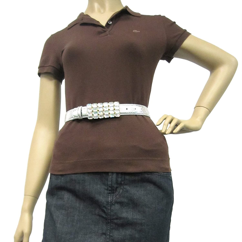 "1 1/4"" Women's Square Clear Jewel Buckle on Quality Metallic Snake Skin Belt ..."
