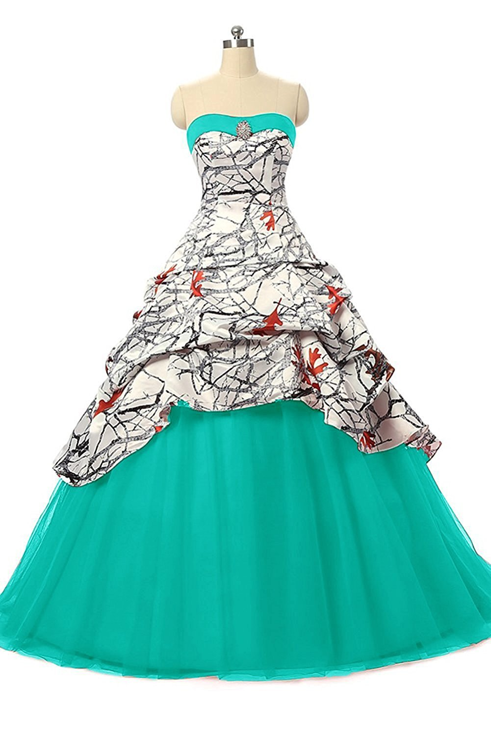 iLovewedding Realtree White Camo Wedding Dress Tulle Ball Gown Prom Party Quinceanera(Tiffany Blue 20W)