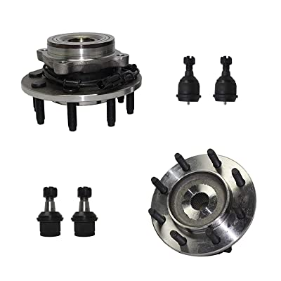 Detroit Axle - 6pc Front Wheel Hub & Bearing Assembly, Upper & Lower Ball Joints for 2006-2008 Dodge Ram 1500-4x4 Extended Crew/Mega Cab - [2006-2008 Ram 2500/ Ram 3500] - 4WD 8-Lug Models: Automotive