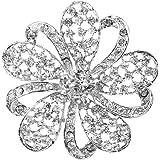 Broche Pin de Strass Scintillant Floral pour Mariée Noce Bal
