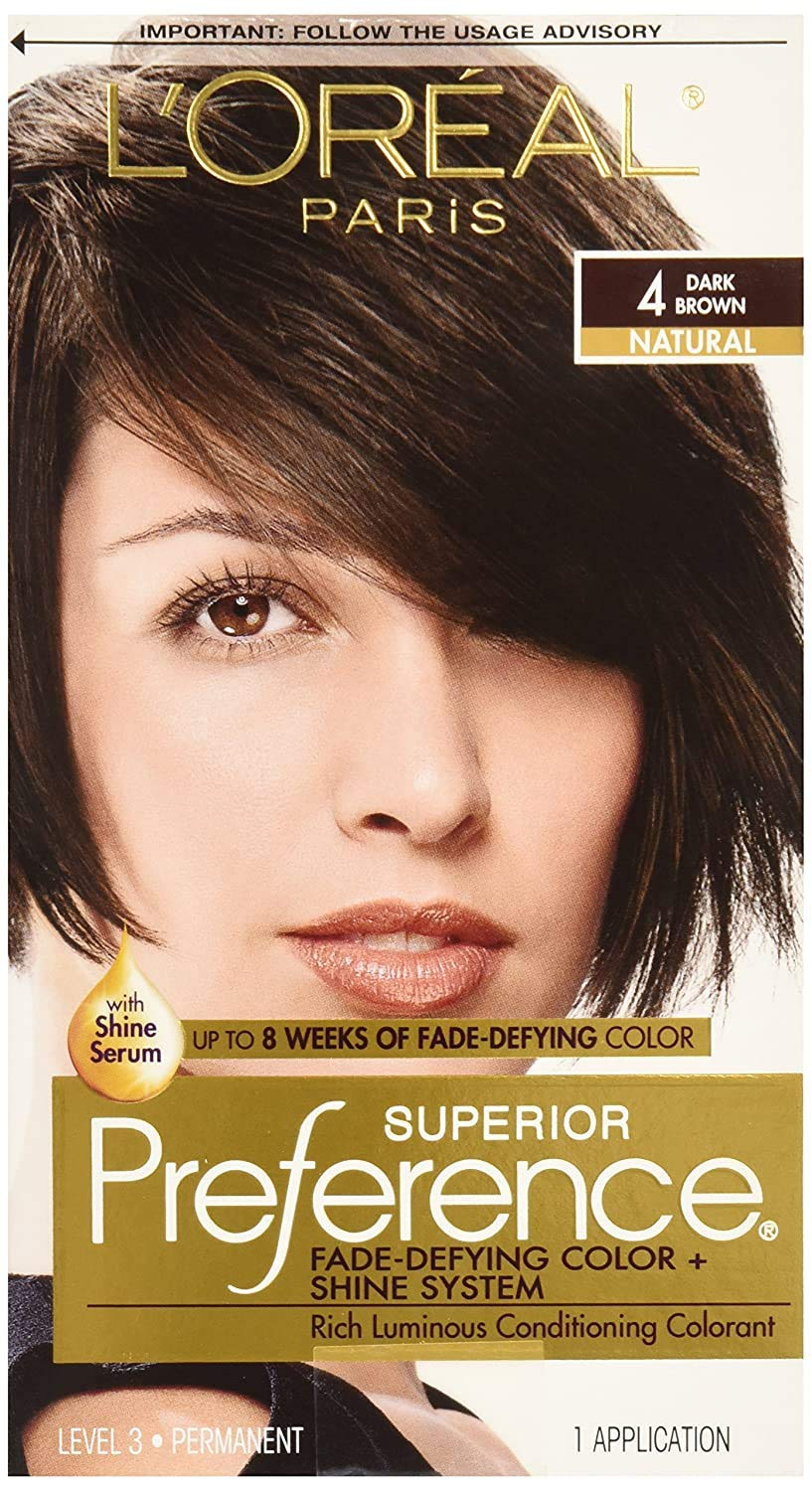L'Oreal Paris Superior Preference Fade-Defying + Shine Permanent Hair Color, 4 Dark Brown, Pack of 1, Hair Dye