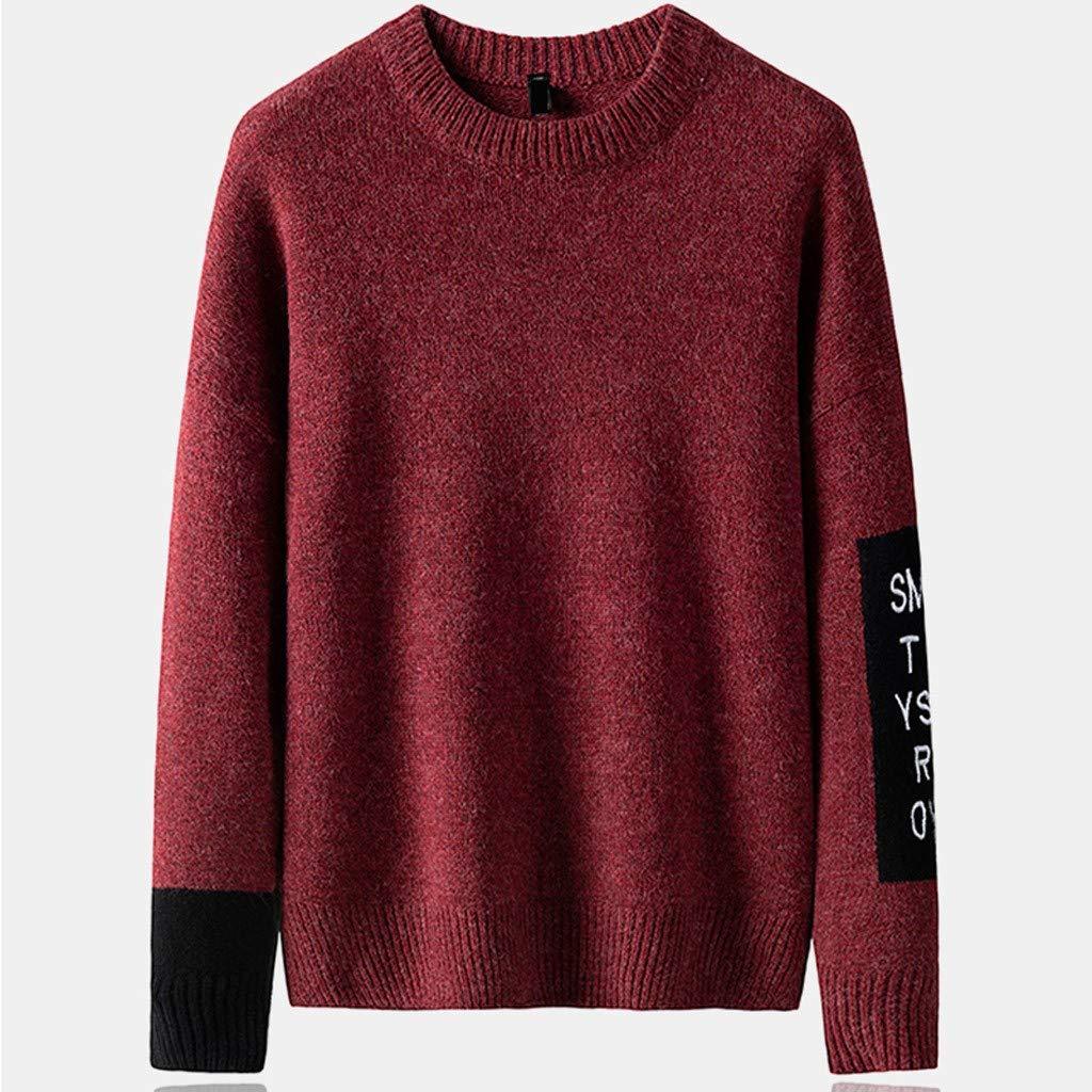 JJHAEVDY Men's Crewneck Knit Sweater Letter Print Pullover Soft Sweatshirts Fashion Autumn Winter Casual Comfort Jumper Wine by JJHAEVDY