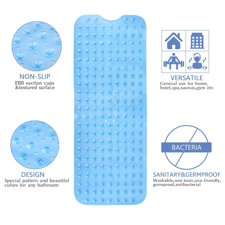 Wimaha Alfombrillas de ba/ño Extra largas Resistentes al Moho Antideslizantes con Ventosa para Uso en el ba/ño Azul 100 x 40 cm Lavables a m/áquina