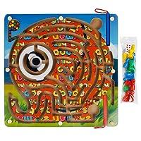 Andux Zone 2 in 1 Legno Magnetico Labirinto Giocattolo Gioco Puzzle Maze Animali da Fattoria Numero Scacchiere per Bambini CXMG-01 (Elefante)