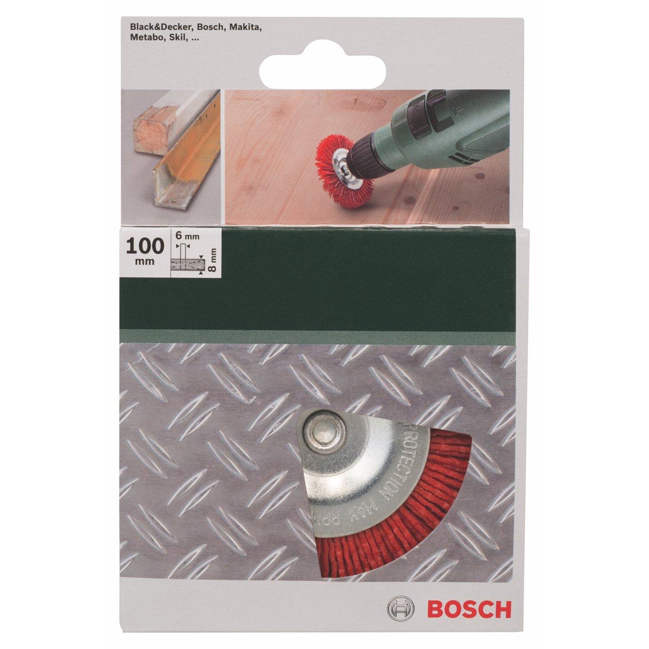 Bosch 2 609 256 537 grano K80 Cepillos de disco para taladradoras 100 mm alambre de nil/ón con medio de lijado de corind/ón