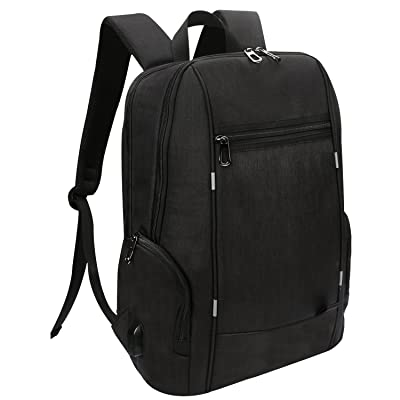 """Slim Laptop Backpack, Water Resistant Anti Theft College Backpack With USB Charging Port, Lightweight Computer Backpack Fit 15"""" 15.6"""" 16"""" Laptop, Tablet, MacBook Pro - Black"""