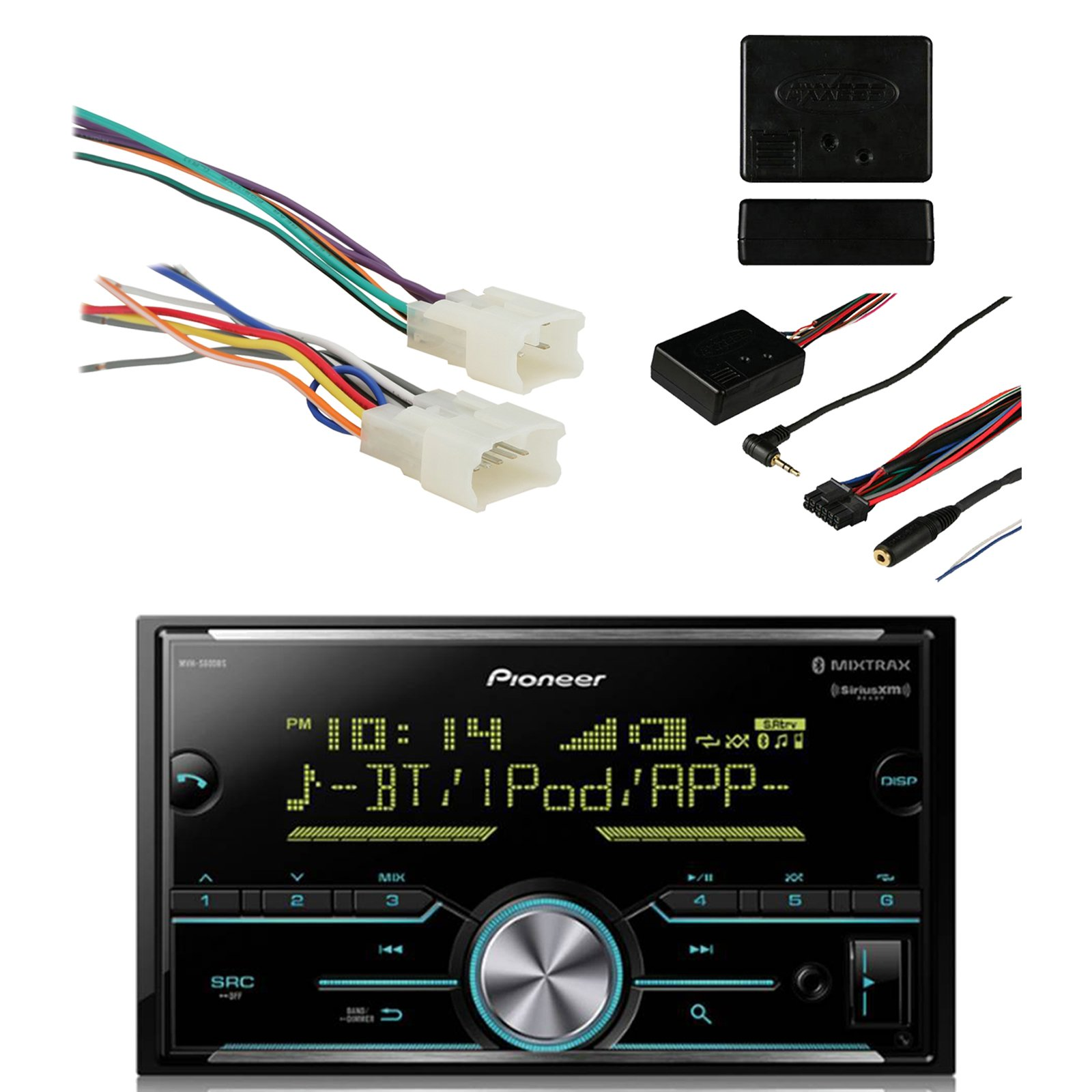 Pioneer Vehicle Digital Media Double Din Receiver with Bluetooth, Black with Metra Radio Wiring Harness For Toyota 87-Up Power 4 Speaker and Metra Axxess Universal Steering Wheel Control Interface by EnrockAutomotive