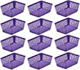 Ybmhome Plastic Storage Supply Basket for Office Drawer, Shelf Desktop, Junk Drawers, Kitchen Pantry Or Countertop - Bins Trays for Office Home & School Classrooms 32-1181-12-purple (Purple, 12)
