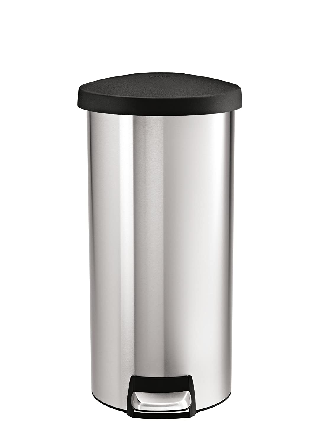 amazoncom simplehuman round step trash can stainless steel plastic lid 30 l 8 gal home kitchen - Stainless Steel Kitchen Trash Can