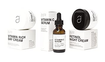 Aura Skin Three Pack #1 Gift Box or Mother's Day Retinol Night Cream 2.5% Retinol, Vitamin Rich Day Cream with Vitamins A, B5, C, E, Vitamin C Serum With 20% Vitamin C, Hyaluronic Acid, Ferulic Acid