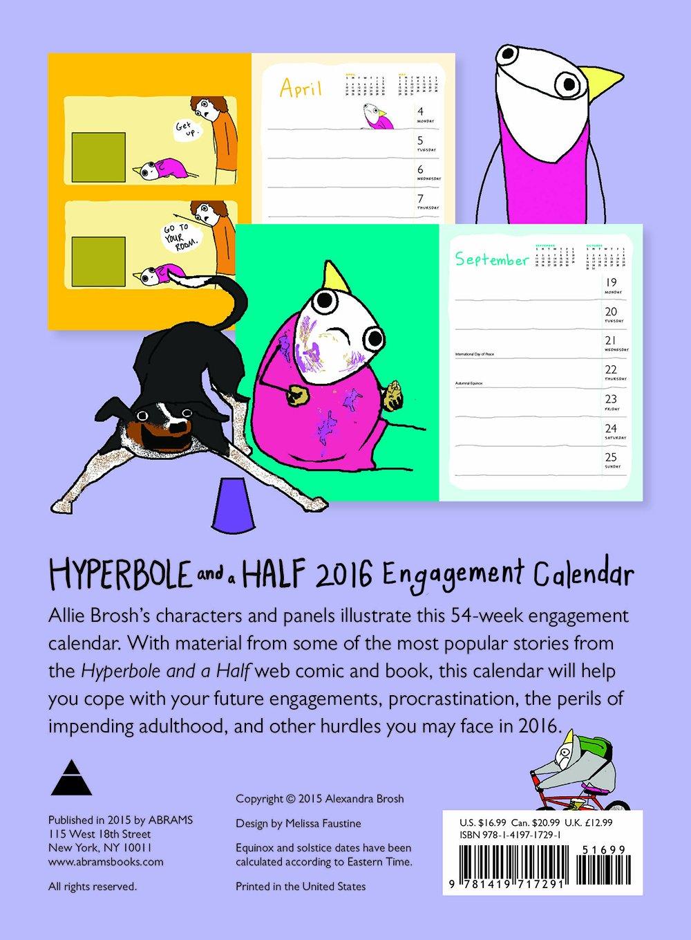 Hyperbole and a Half 2016 Engagement Calendar: Allie Brosh: 9781419717291:  Amazon.com: Books