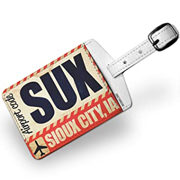 Amazon.com | Luggage Tag Airportcode SUX Sioux City, IA - NEONBLOND | Luggage Tags