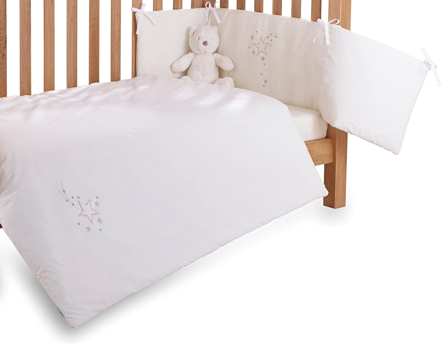 Clair de Lune Starburst Cot/Cot Bed Quilt and Bumper Set (2 Pieces, Cream) CL5073C