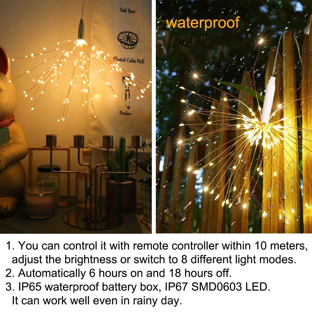 200 LED Fuegos artificiales Luces de hadas, Impermeable Colgando Luz del alambre de cobre, De pilas Control remoto, Interior Al aire libre Jardín Boda ...