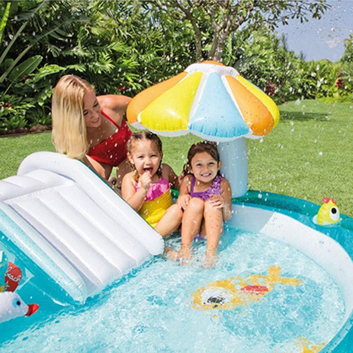 Piscina para bebés,Piscina inflable de chorros de agua con tobogán de cocodrilo, piscina infantil, piscina de arena para bebés piscina de bolas marinas, regalos-203 × 173 × 89CM