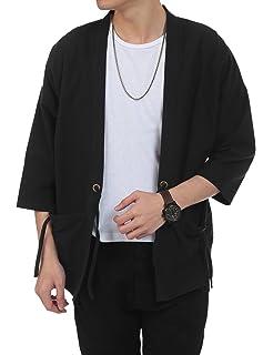 COOFANDY Mens Relaxed Fit Kimono Cardigan Cotton Linen Blend Noragi Jacket Vintage Cloak Open Front Coat