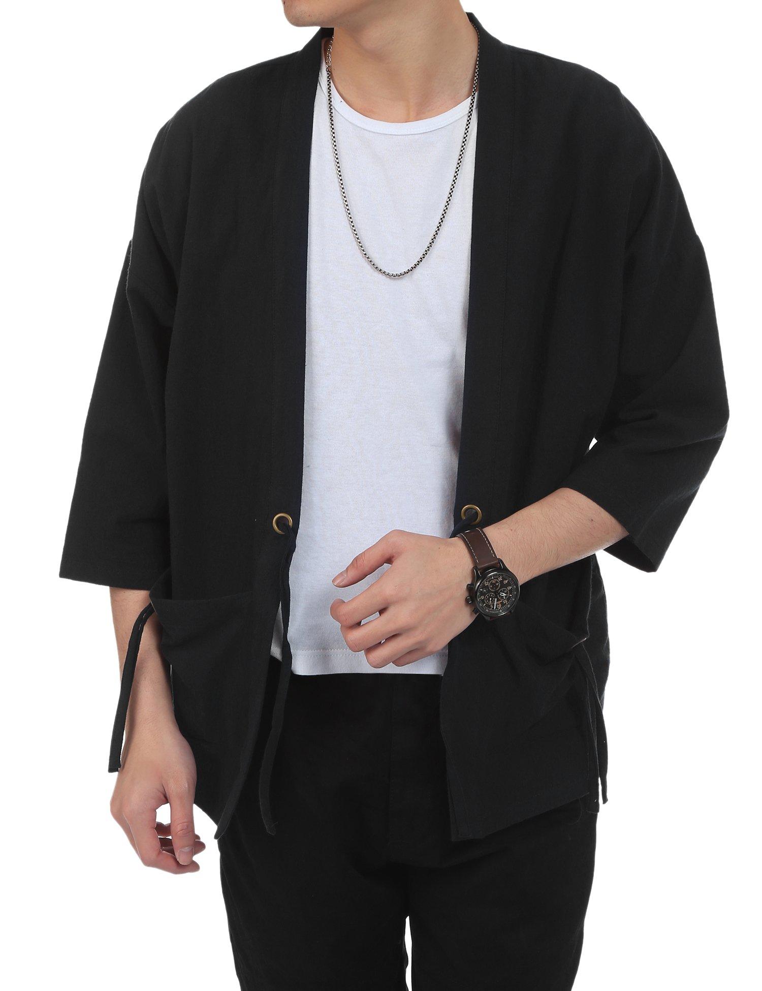 COOFANDY Men's Lightweight Cotton Linen Blend Jacket Vintage Cloak Open Front Cardigan,Black,Small(US S)
