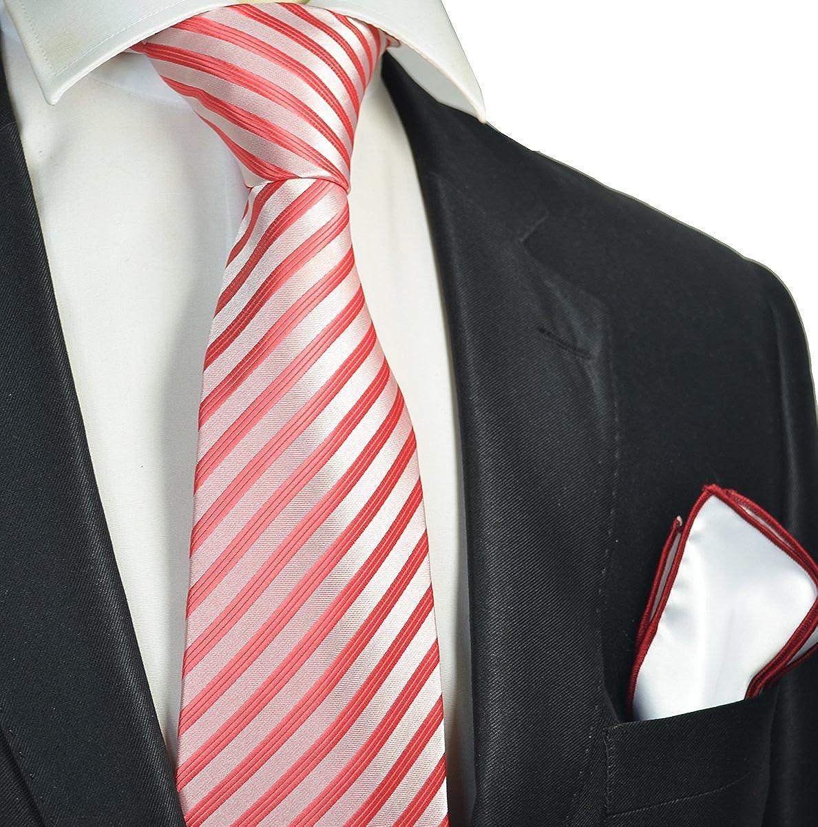 Amazon.com: Rojo juego de corbata de hombre con contraste ...