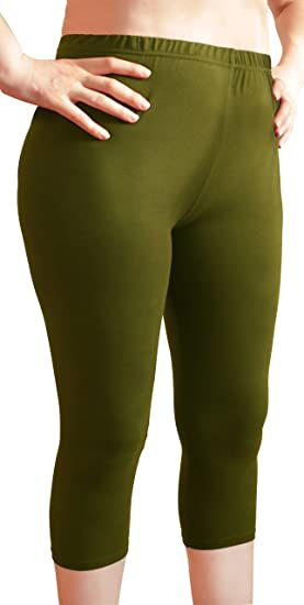 d5f4bfda02 Plus Size Buttery Soft Premium Quality Capri Leggings, Pants for Women  (Olive One Size