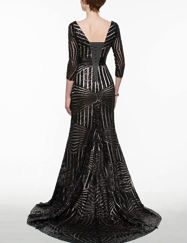 JoJoBridal Womens Sequins Prom Dress Mermaid Long Formal Evening Dresses with Sleeves