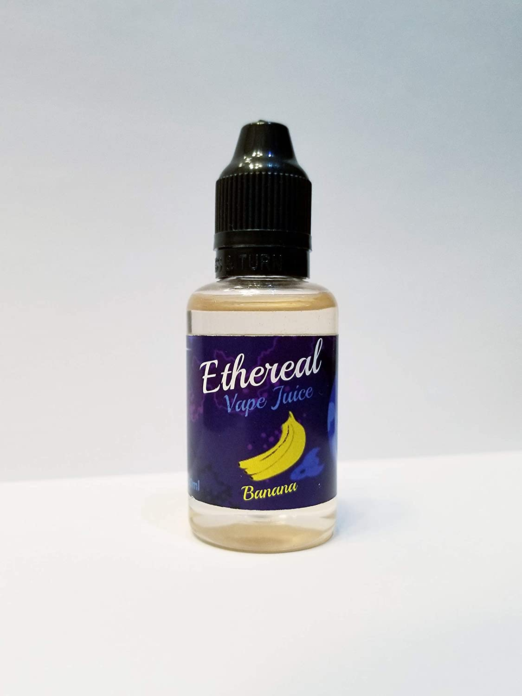 Vape Juice Ethereal Aromatherapy, 0 mg Nicotine 30 ml 100% Nicotine and  Tobacco Free e Liquid  (Banana)