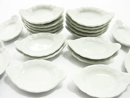 22x35 mm Set Of 20 White Soup Bowl Dolls House Miniatures Ceramic 10076