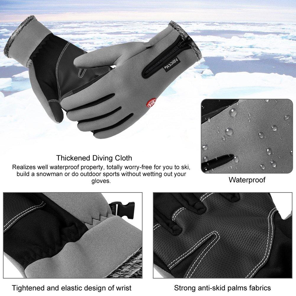 Vbiger Winterhandschuhe Wasserdicht Fahrradhandschuhe Sporthandschuhe SkiHandschuhe Outdoor Snowhandschuhe mit dickem Fleecefutter L Grau