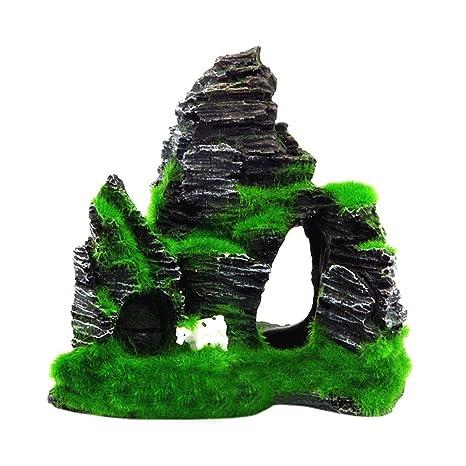 SO-buts Cueva para acuario, adorno para pecera, decoración con musgo