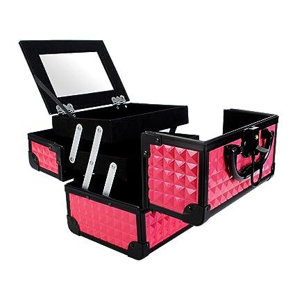 Maletín Para Maquillaje con Espejo Caja de Cosméticos Estuches de Maquillaje, 19.5 x 15 x 16 cm, Rosa
